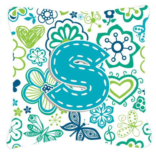 Buy this Letter S Flowers and Butterflies Teal Blue Canvas Fabric Decorative Pillow