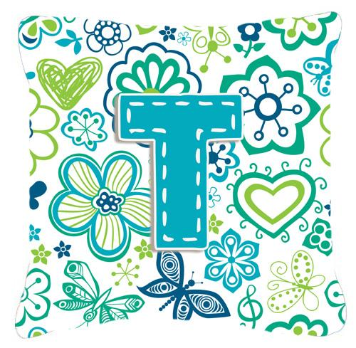 Letter T Flowers and Butterflies Teal Blue Canvas Fabric Decorative Pillow by Caroline's Treasures
