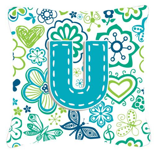 Buy this Letter U Flowers and Butterflies Teal Blue Canvas Fabric Decorative Pillow