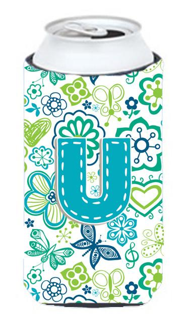 Buy this Letter U Flowers and Butterflies Teal Blue Tall Boy Beverage Insulator Hugger CJ2006-UTBC