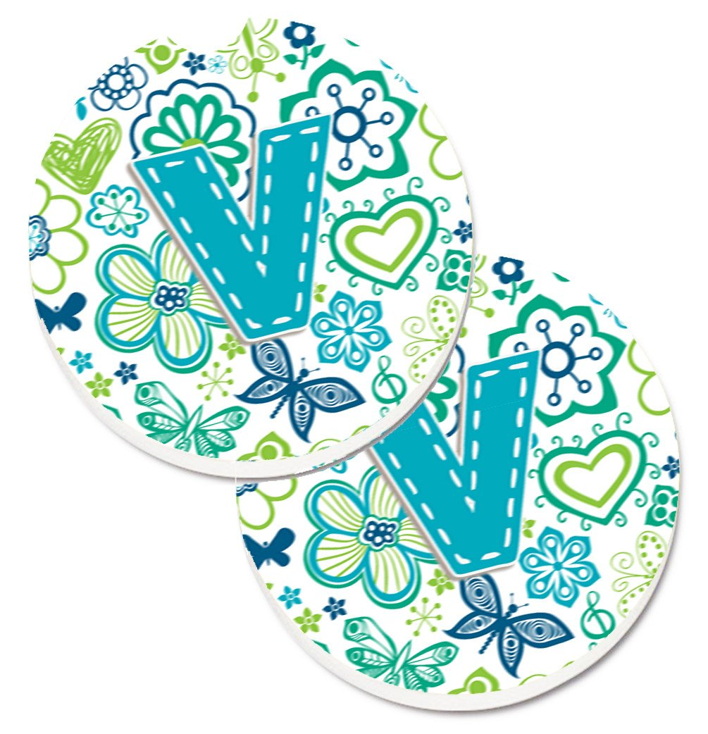 Letter V Flowers and Butterflies Teal Blue Set of 2 Cup Holder Car Coasters CJ2006-VCARC by Caroline's Treasures