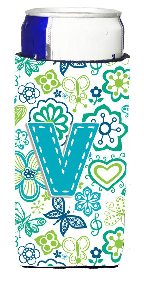 Letter V Flowers and Butterflies Teal Blue Ultra Beverage Insulators for slim cans CJ2006-VMUK by Caroline's Treasures