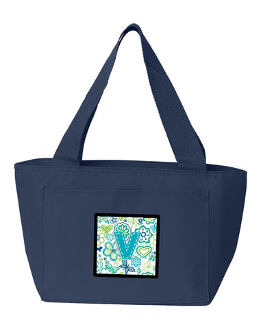 Buy this Letter V Flowers and Butterflies Teal Blue Lunch Bag CJ2006-VNA-8808