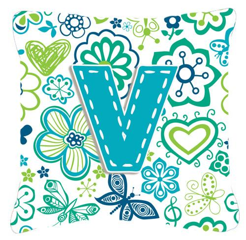 Letter V Flowers and Butterflies Teal Blue Canvas Fabric Decorative Pillow by Caroline's Treasures