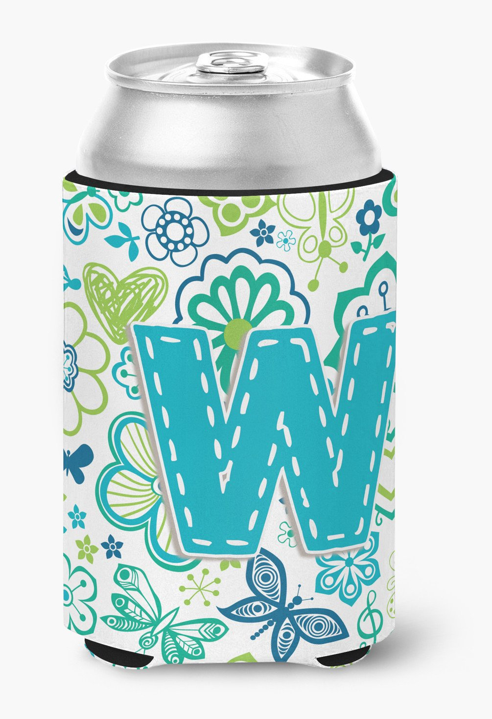 Buy this Letter W Flowers and Butterflies Teal Blue Can or Bottle Hugger CJ2006-WCC