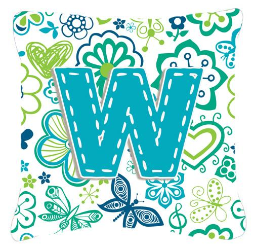Letter W Flowers and Butterflies Teal Blue Canvas Fabric Decorative Pillow by Caroline's Treasures