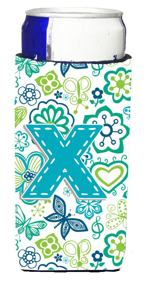 Letter X Flowers and Butterflies Teal Blue Ultra Beverage Insulators for slim cans CJ2006-XMUK by Caroline's Treasures