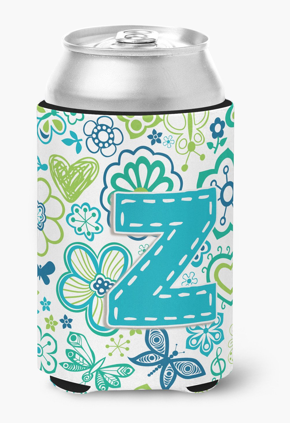 Letter Z Flowers and Butterflies Teal Blue Can or Bottle Hugger CJ2006-ZCC by Caroline's Treasures
