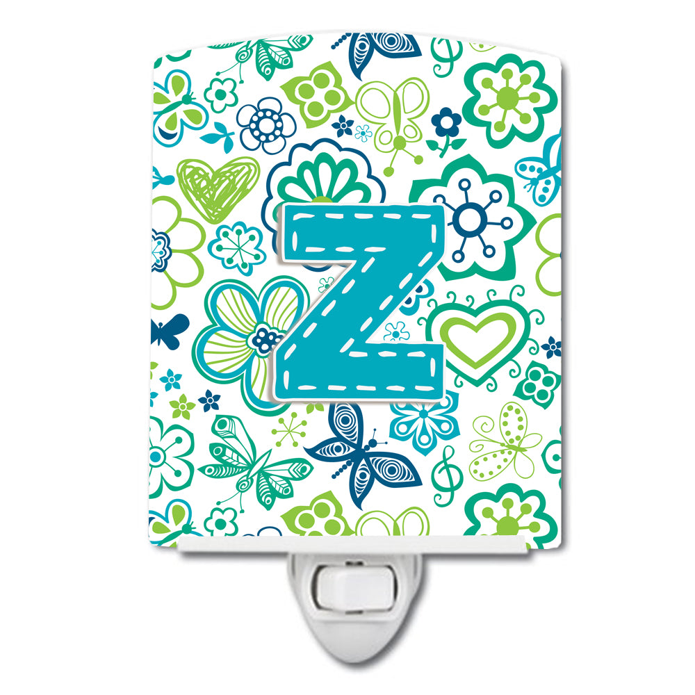 Letter Z Flowers and Butterflies Teal Blue Ceramic Night Light CJ2006-ZCNL by Caroline's Treasures