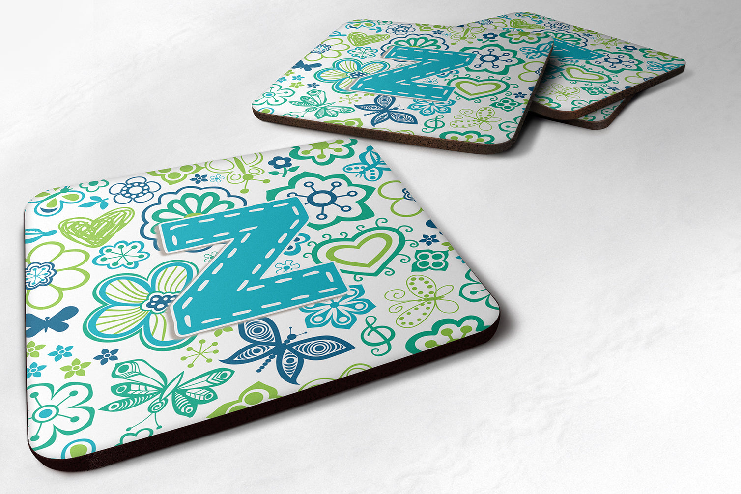 Buy this Set of 4 Letter Z Flowers and Butterflies Teal Blue Foam Coasters CJ2006-ZFC