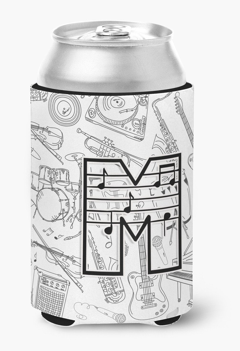 Letter M Musical Note Letters Can or Bottle Hugger CJ2007-MCC by Caroline's Treasures