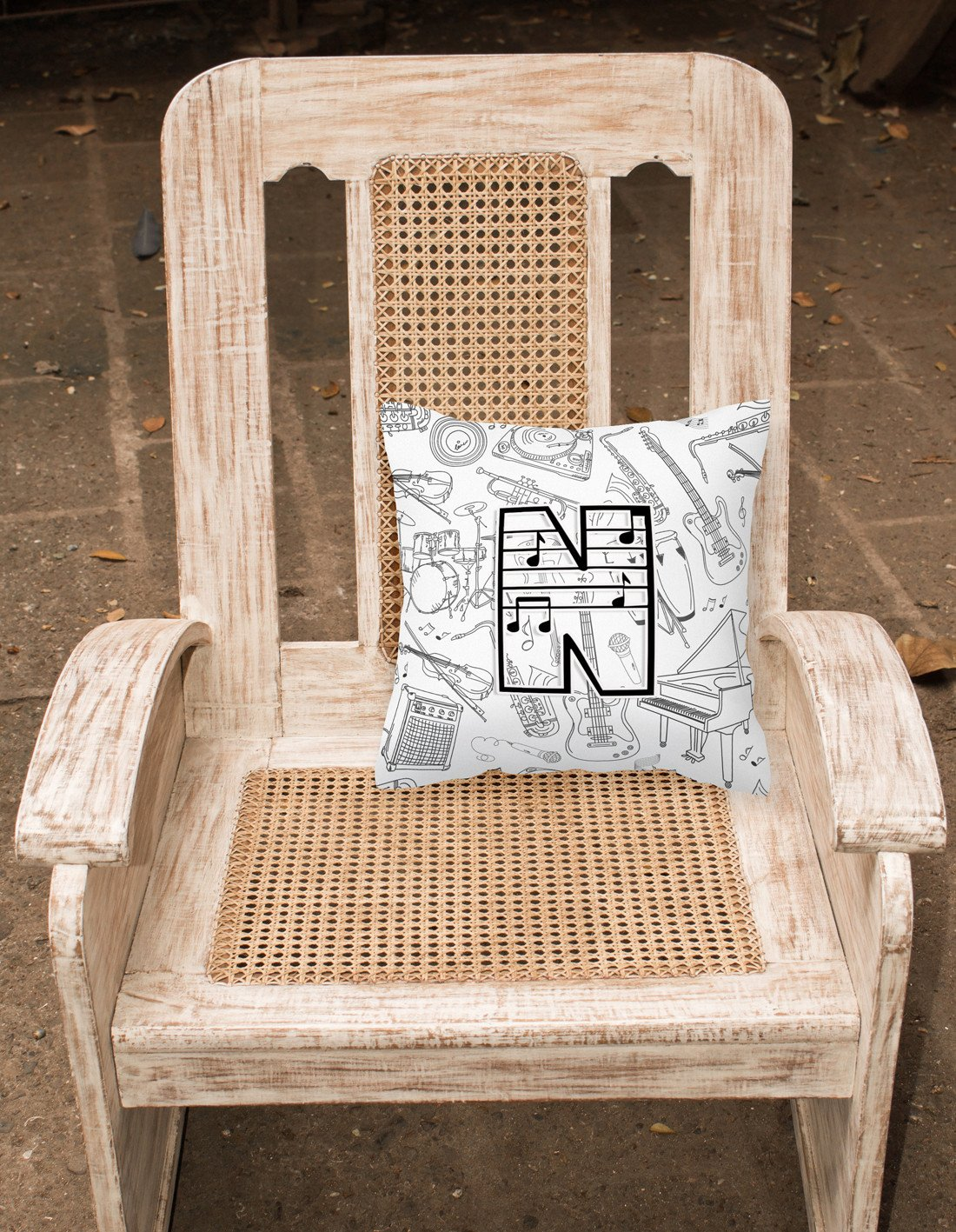 Letter N Musical Note Letters Canvas Fabric Decorative Pillow CJ2007-NPW1414 by Caroline's Treasures
