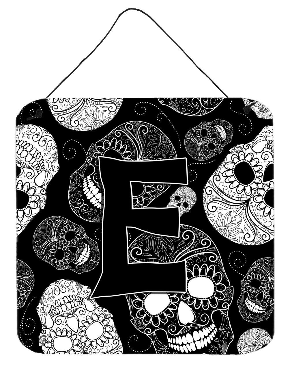 Letter E Day of the Dead Skulls Black Wall or Door Hanging Prints CJ2008-EDS66 by Caroline's Treasures
