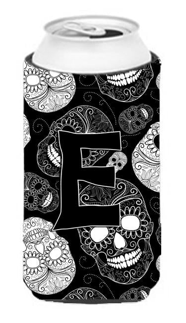 Letter E Day of the Dead Skulls Black Tall Boy Beverage Insulator Hugger CJ2008-ETBC by Caroline's Treasures