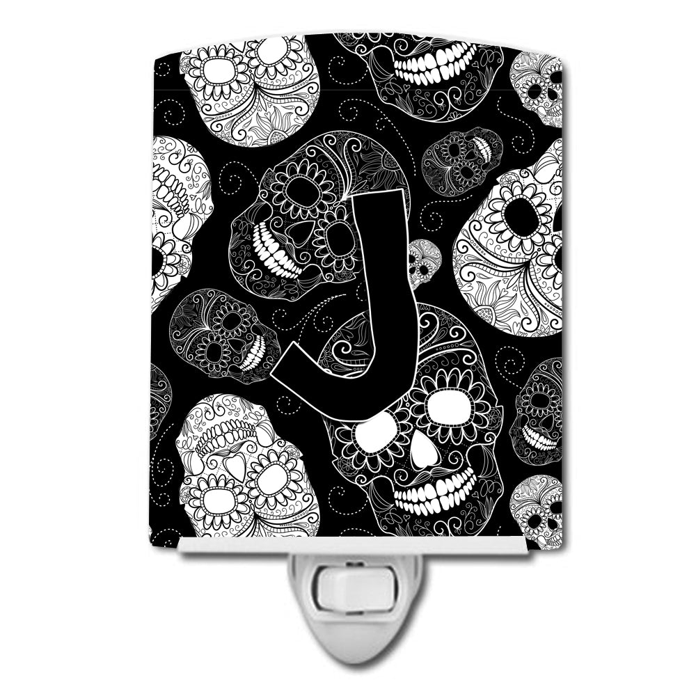 Letter J Day of the Dead Skulls Black Ceramic Night Light CJ2008-JCNL by Caroline's Treasures