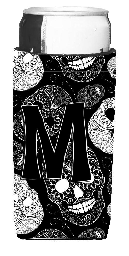 Letter M Day of the Dead Skulls Black Ultra Beverage Insulators for slim cans CJ2008-MMUK by Caroline's Treasures