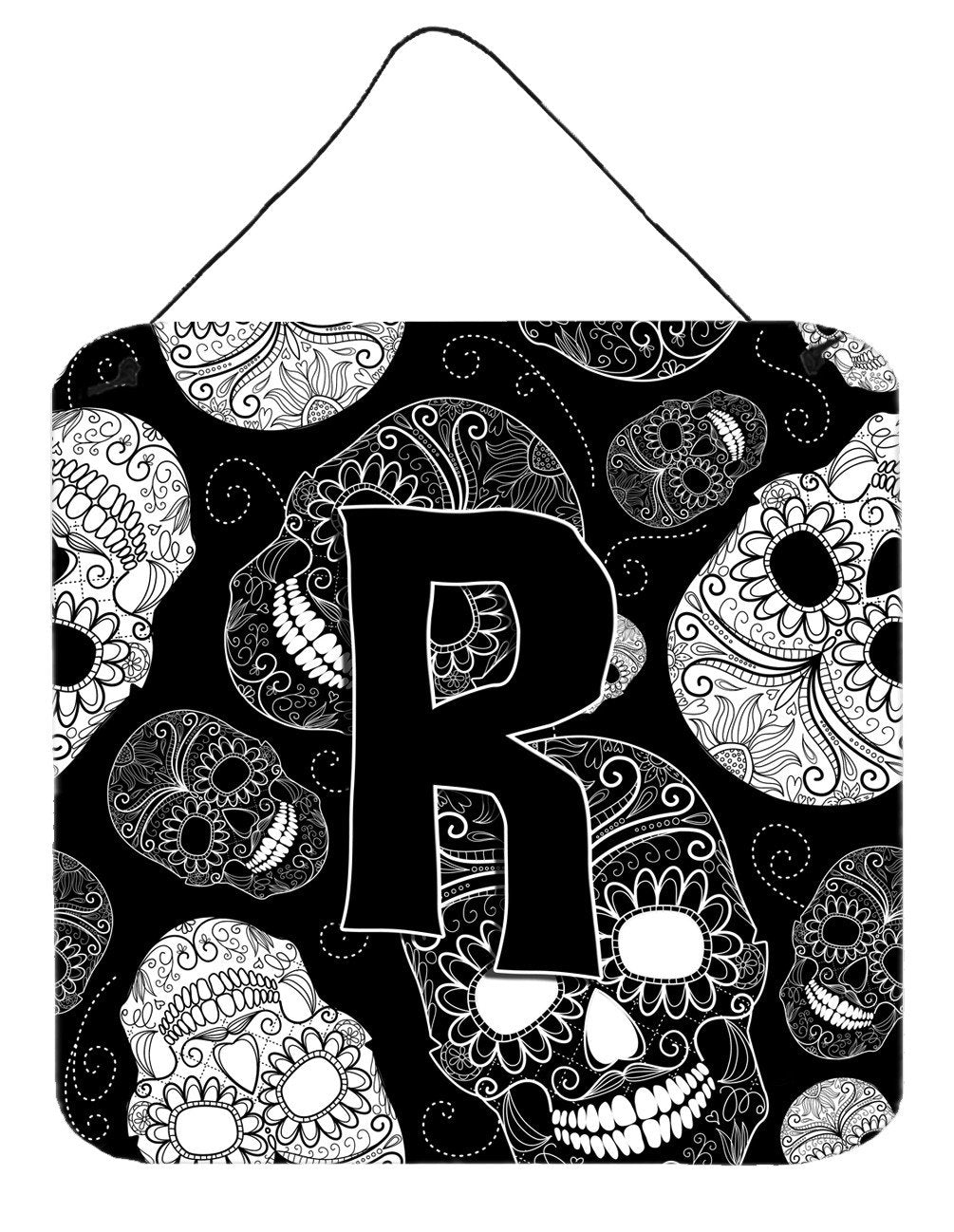 Letter R Day of the Dead Skulls Black Wall or Door Hanging Prints CJ2008-RDS66 by Caroline's Treasures
