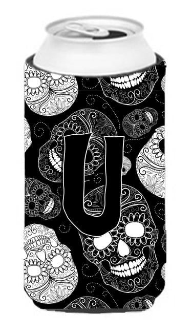 Buy this Letter U Day of the Dead Skulls Black Tall Boy Beverage Insulator Hugger CJ2008-UTBC