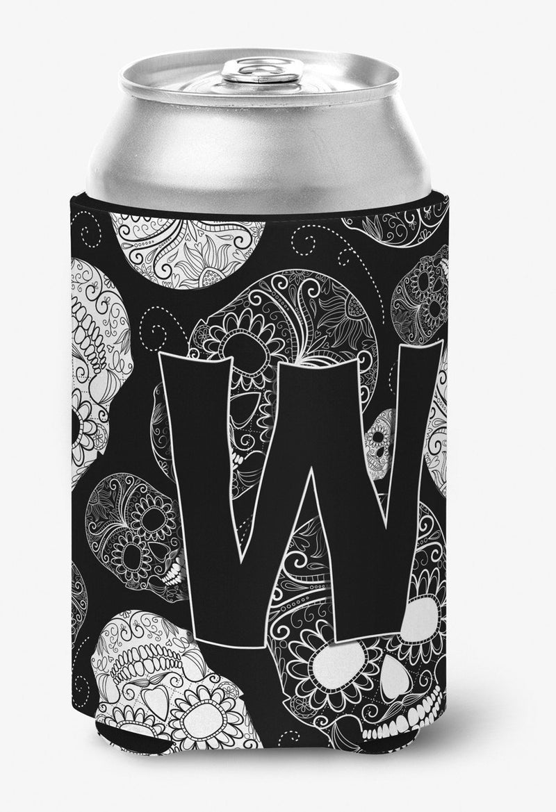 Buy this Letter W Day of the Dead Skulls Black Can or Bottle Hugger CJ2008-WCC