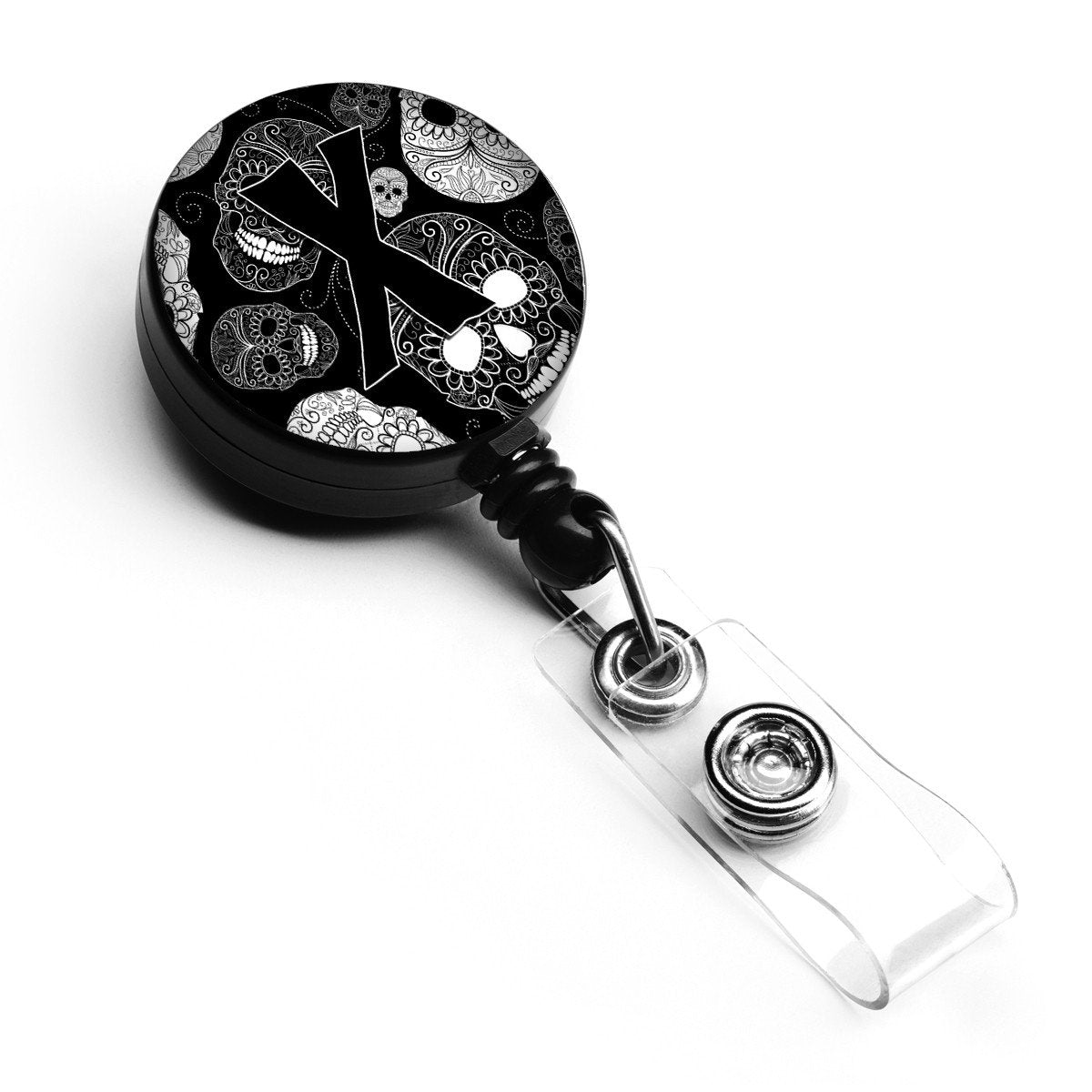 Letter X Day of the Dead Skulls Black Retractable Badge Reel CJ2008-XBR by Caroline's Treasures