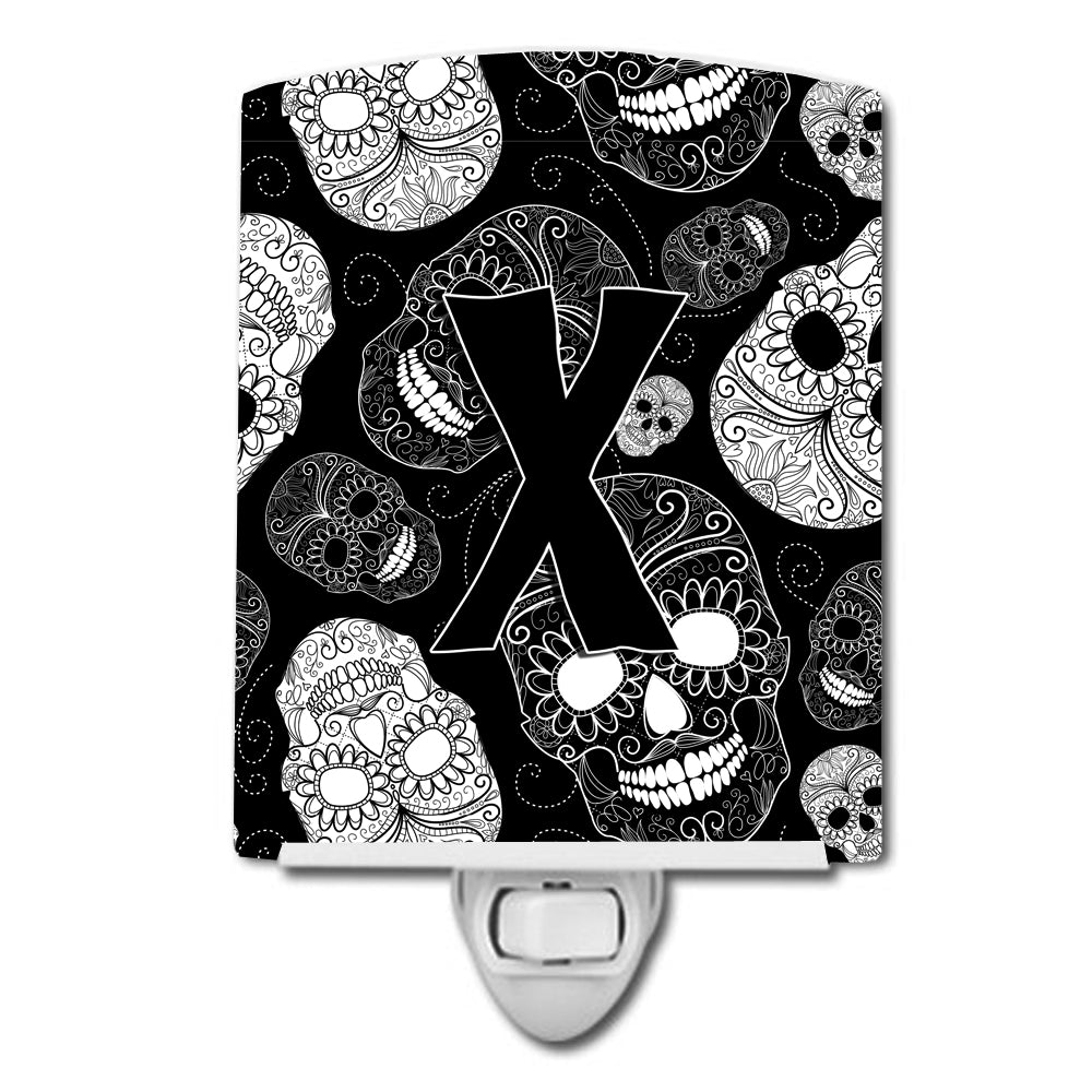 Letter X Day of the Dead Skulls Black Ceramic Night Light CJ2008-XCNL by Caroline's Treasures