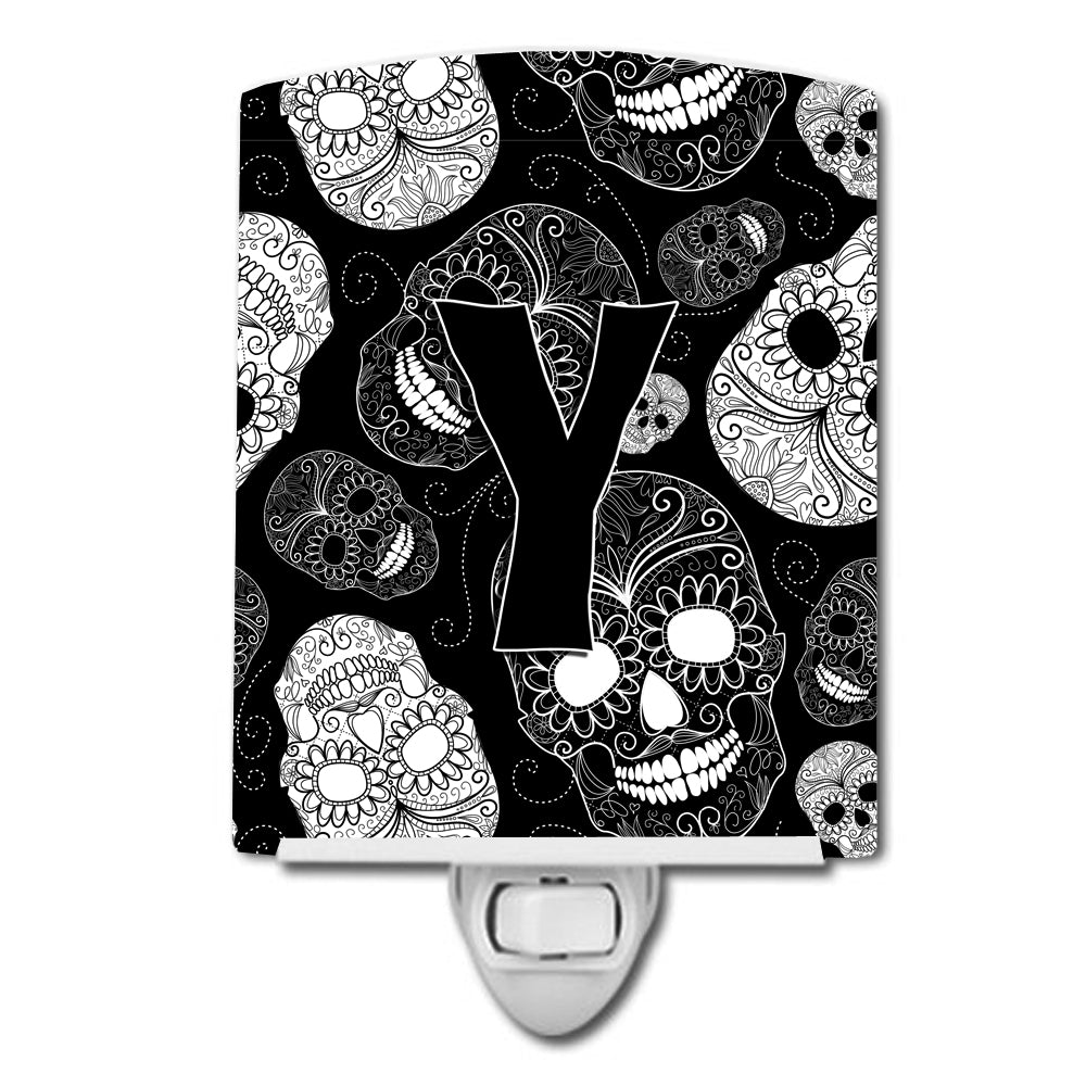 Letter Y Day of the Dead Skulls Black Ceramic Night Light CJ2008-YCNL by Caroline's Treasures