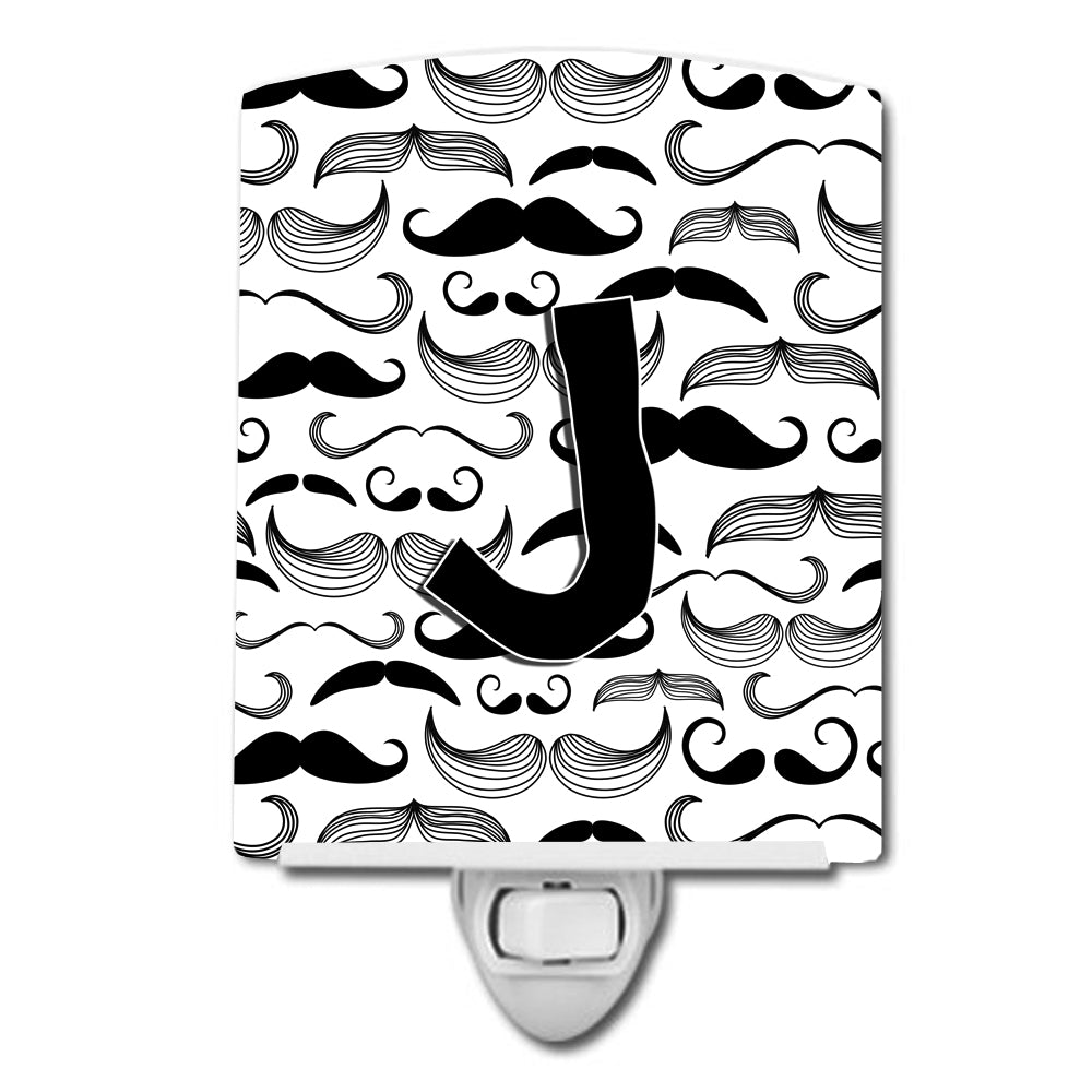 Letter J Moustache Initial Ceramic Night Light CJ2009-JCNL by Caroline's Treasures