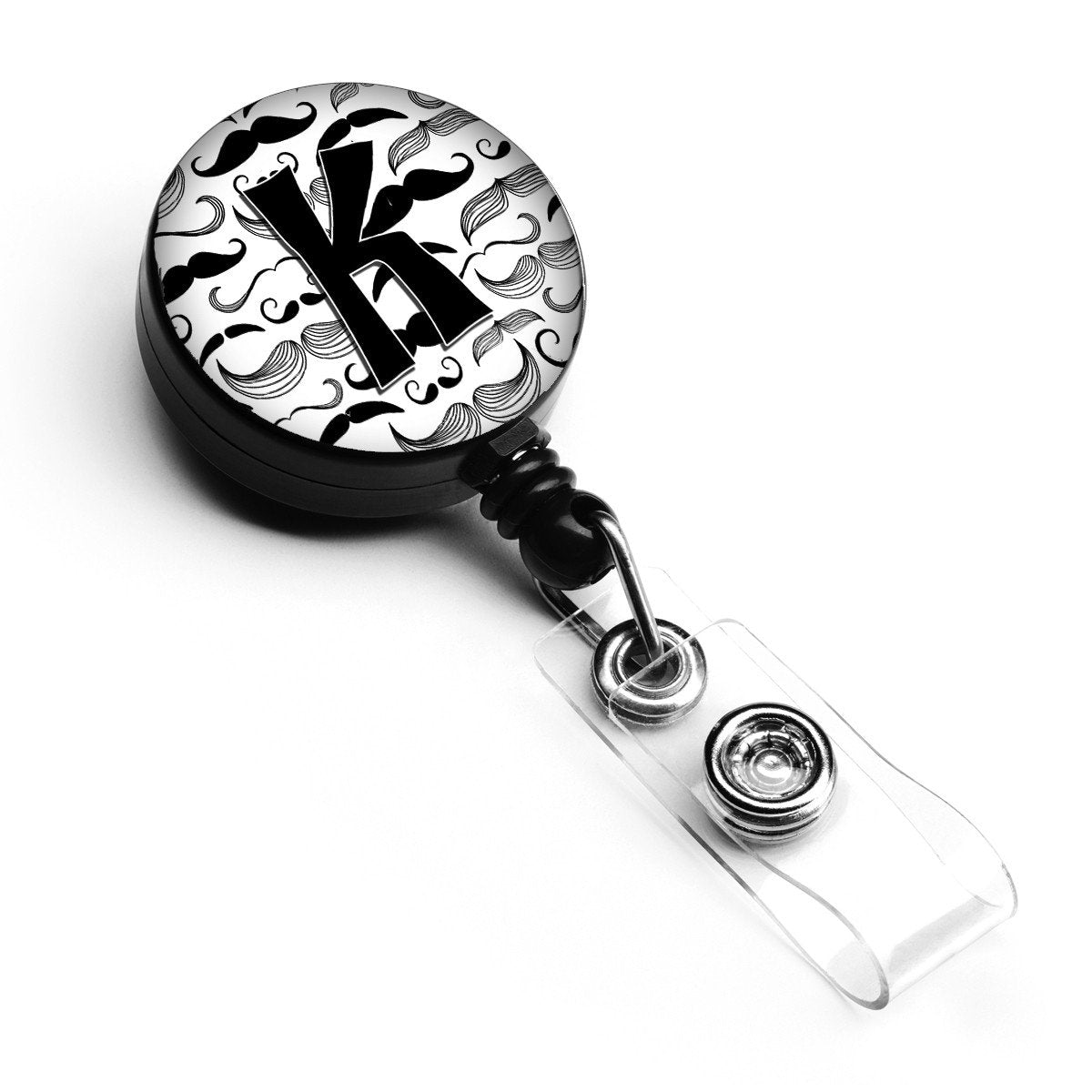 Letter K Moustache Initial Retractable Badge Reel CJ2009-KBR by Caroline's Treasures