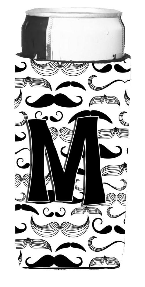 Letter M Moustache Initial Ultra Beverage Insulators for slim cans CJ2009-MMUK by Caroline's Treasures