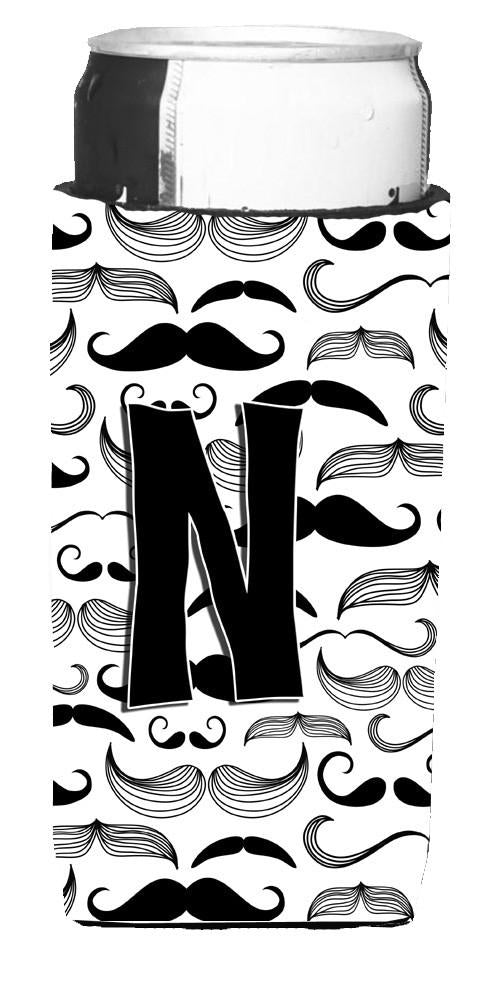 Letter N Moustache Initial Ultra Beverage Insulators for slim cans CJ2009-NMUK by Caroline's Treasures