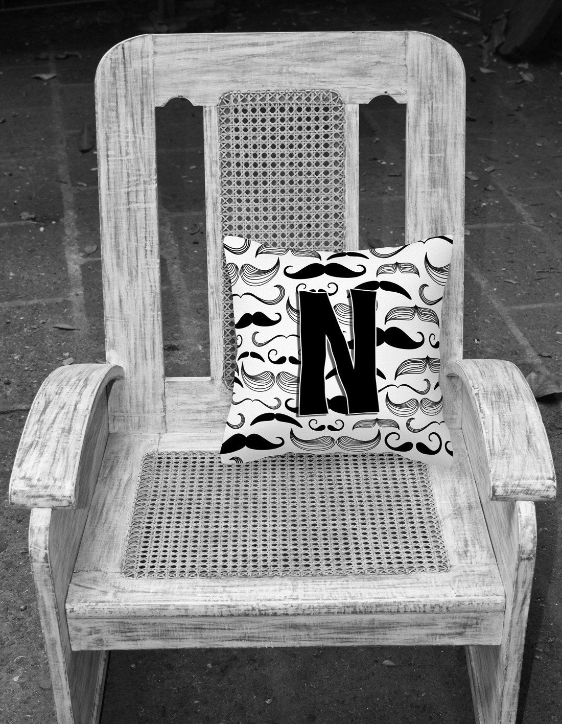 Letter N Moustache Initial Canvas Fabric Decorative Pillow CJ2009-NPW1414 by Caroline's Treasures