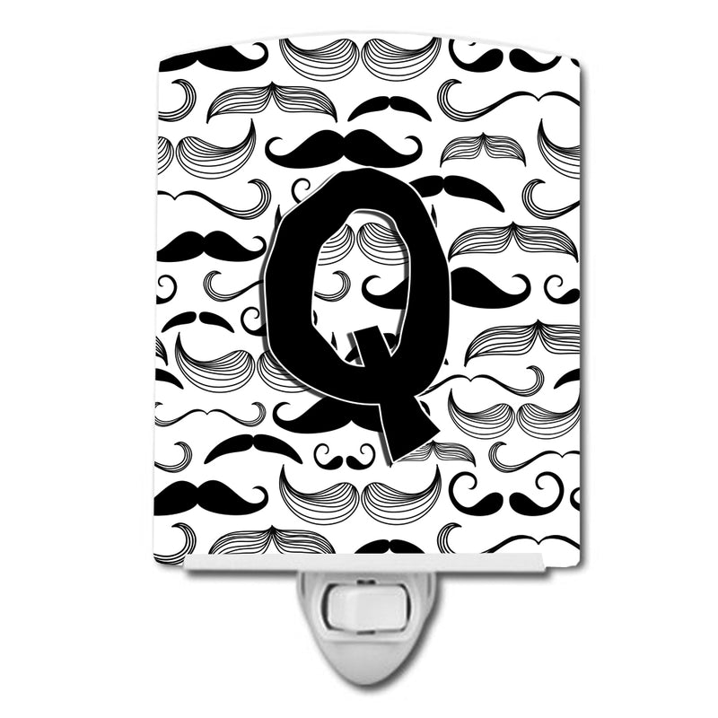 Buy this Letter Q Moustache Initial Ceramic Night Light CJ2009-QCNL