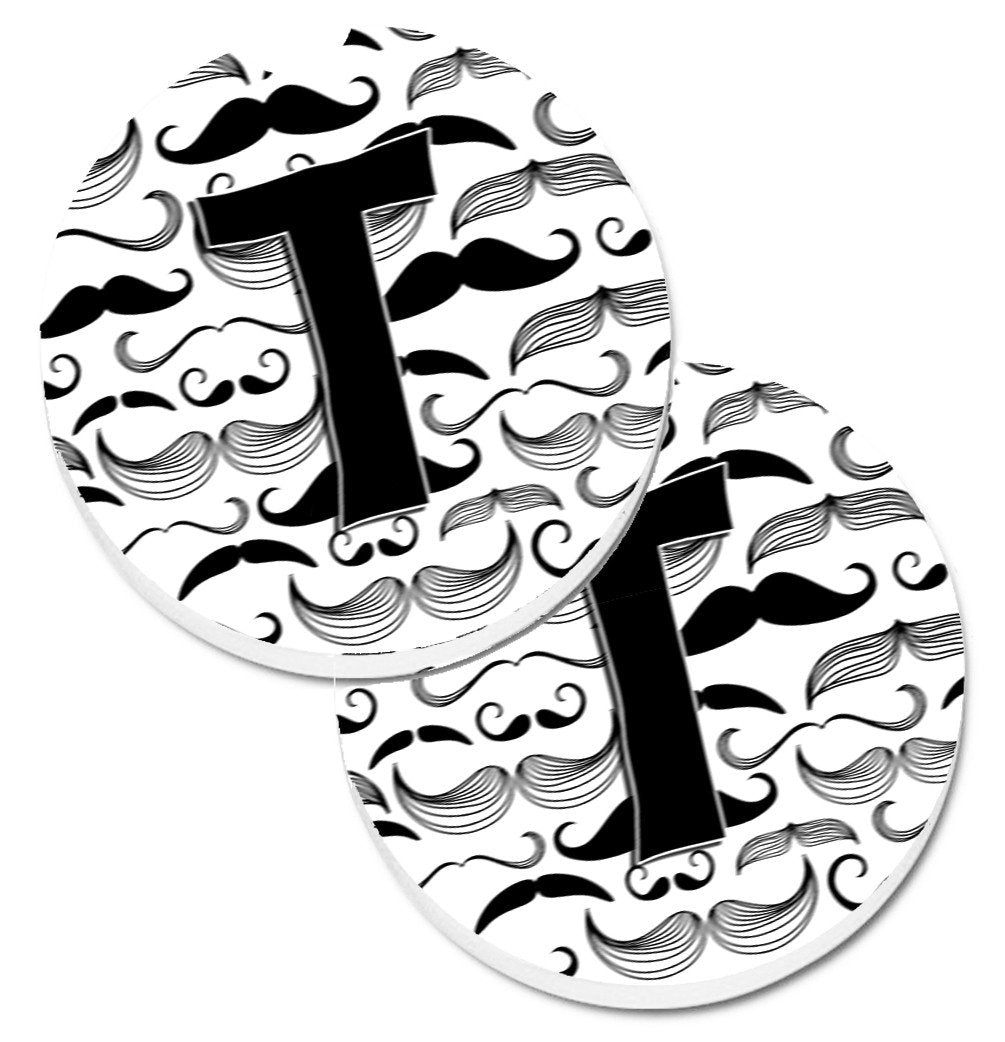 Letter T Moustache Initial Set of 2 Cup Holder Car Coasters CJ2009-TCARC by Caroline's Treasures