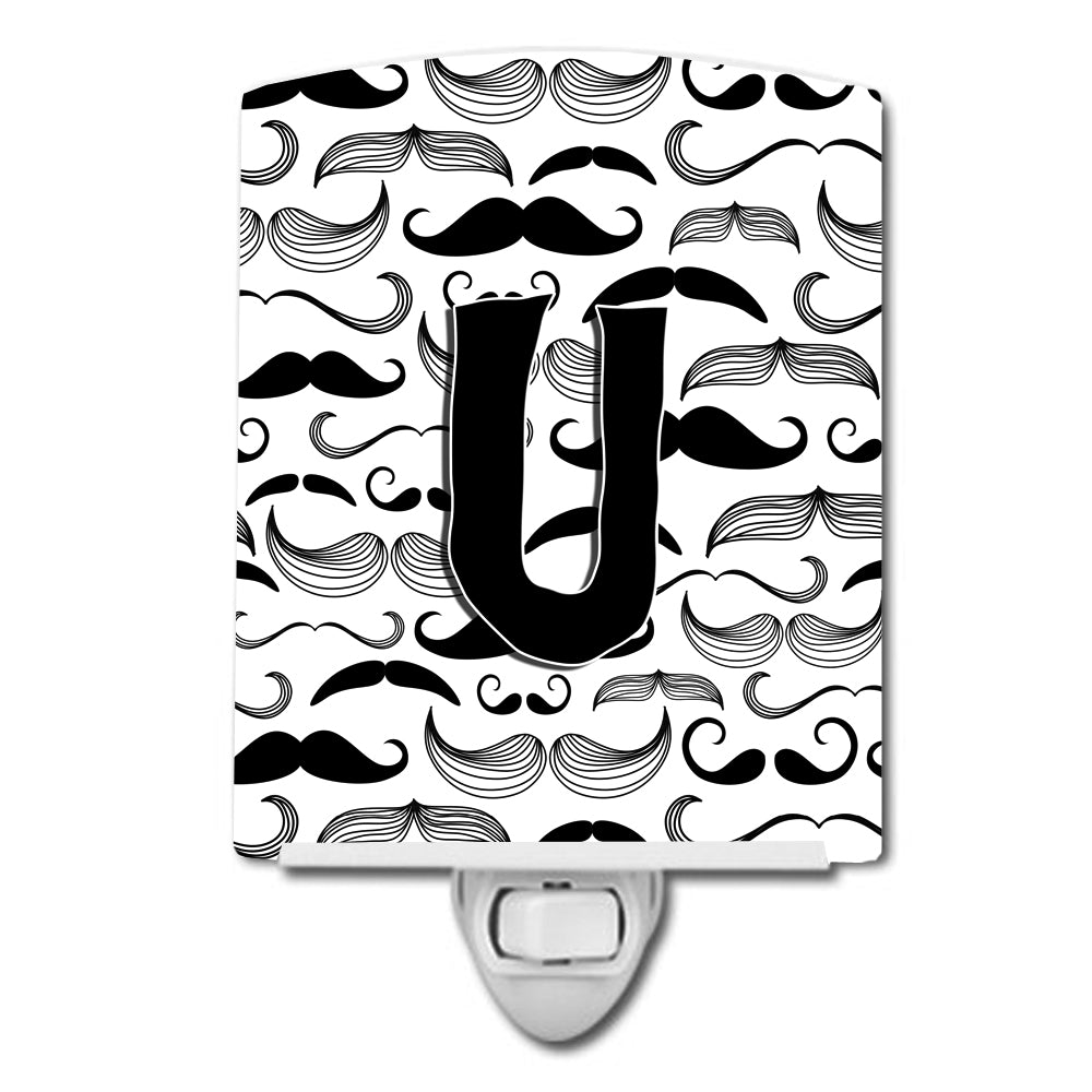 Buy this Letter U Moustache Initial Ceramic Night Light CJ2009-UCNL