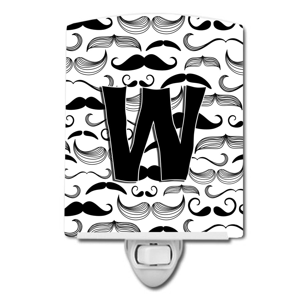 Buy this Letter W Moustache Initial Ceramic Night Light CJ2009-WCNL