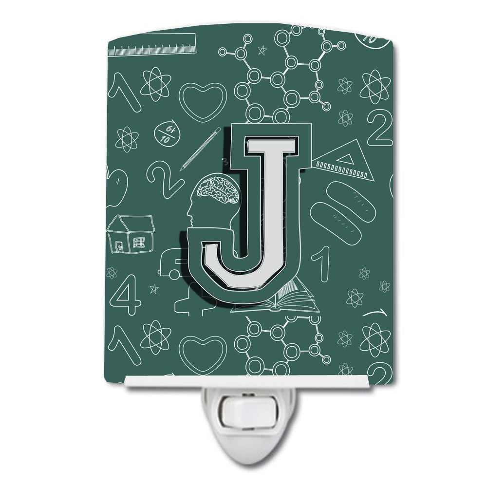 Letter J Back to School Initial Ceramic Night Light CJ2010-JCNL by Caroline's Treasures