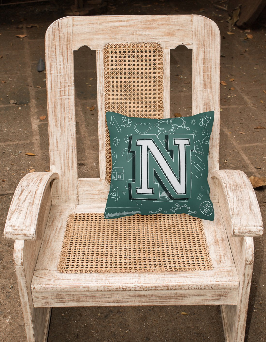 Letter N Back to School Initial Canvas Fabric Decorative Pillow CJ2010-NPW1414 by Caroline's Treasures