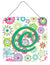 Letter C Flowers Pink Teal Green Initial Wall or Door Hanging Prints CJ2011-CDS66 by Caroline's Treasures