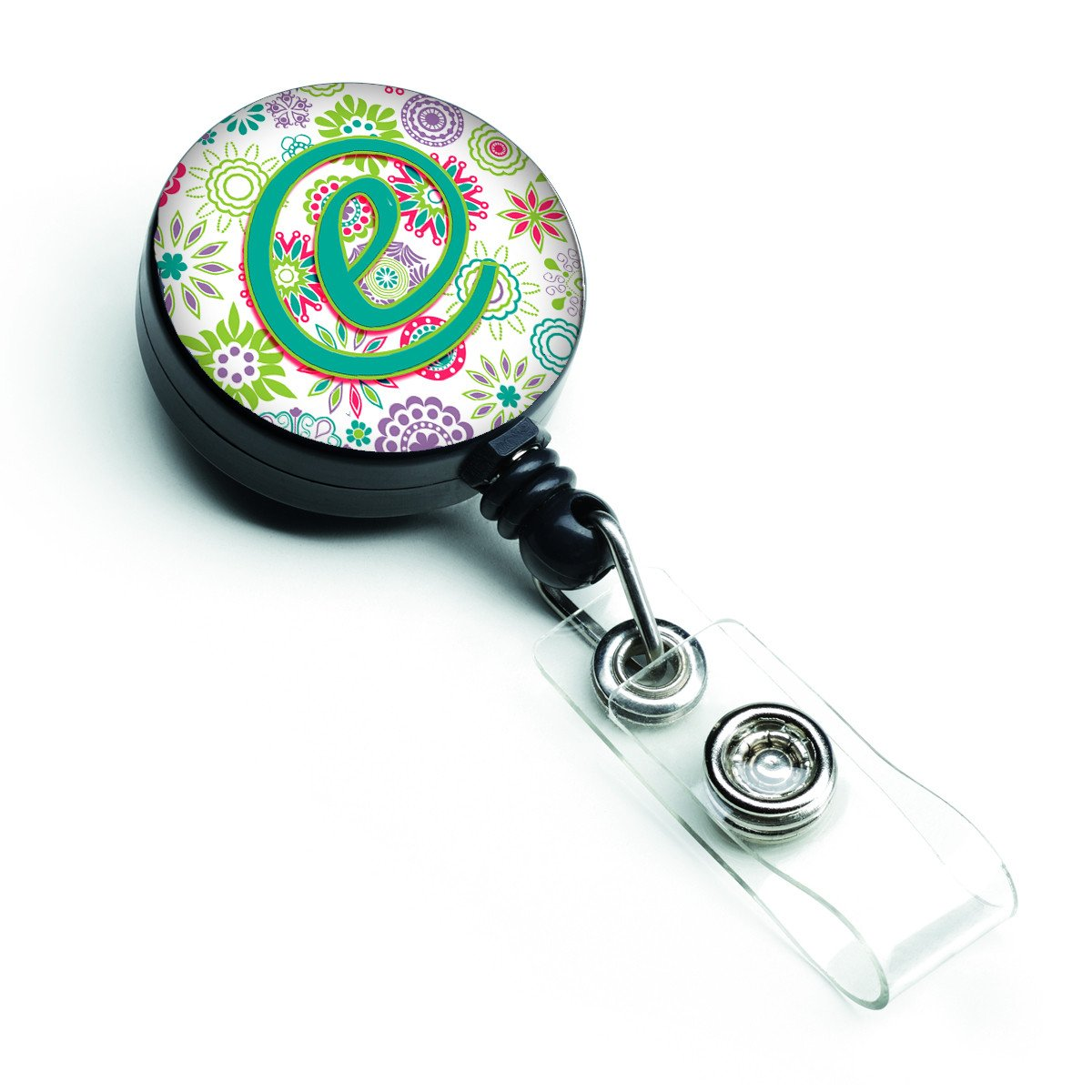 Letter E Flowers Pink Teal Green Initial Retractable Badge Reel CJ2011-EBR by Caroline's Treasures
