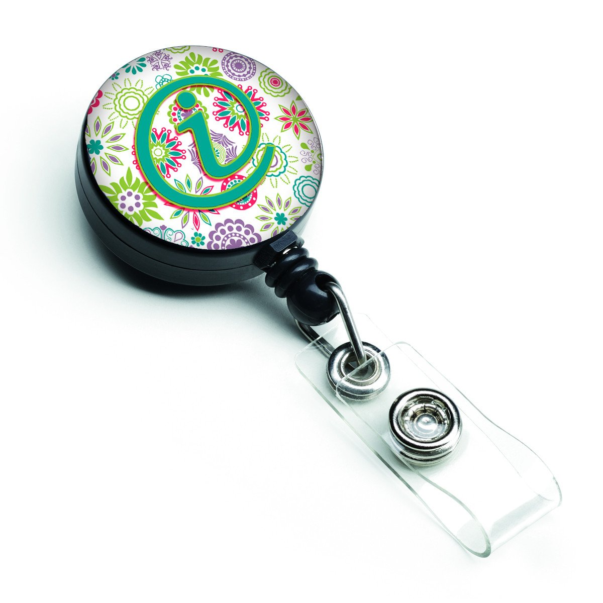 Letter I Flowers Pink Teal Green Initial Retractable Badge Reel CJ2011-IBR by Caroline's Treasures