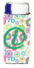 Letter I Flowers Pink Teal Green Initial Ultra Beverage Insulators for slim cans CJ2011-IMUK by Caroline's Treasures