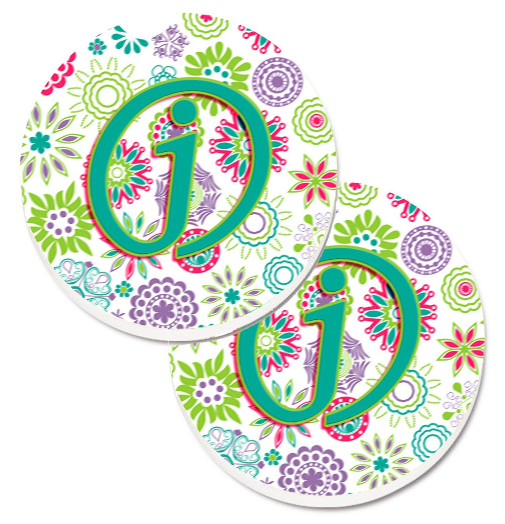Buy this Letter J Flowers Pink Teal Green Initial Set of 2 Cup Holder Car Coasters CJ2011-JCARC