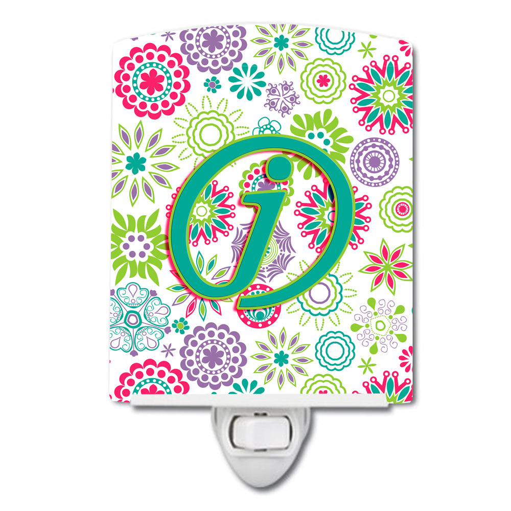 Letter J Flowers Pink Teal Green Initial Ceramic Night Light CJ2011-JCNL by Caroline's Treasures