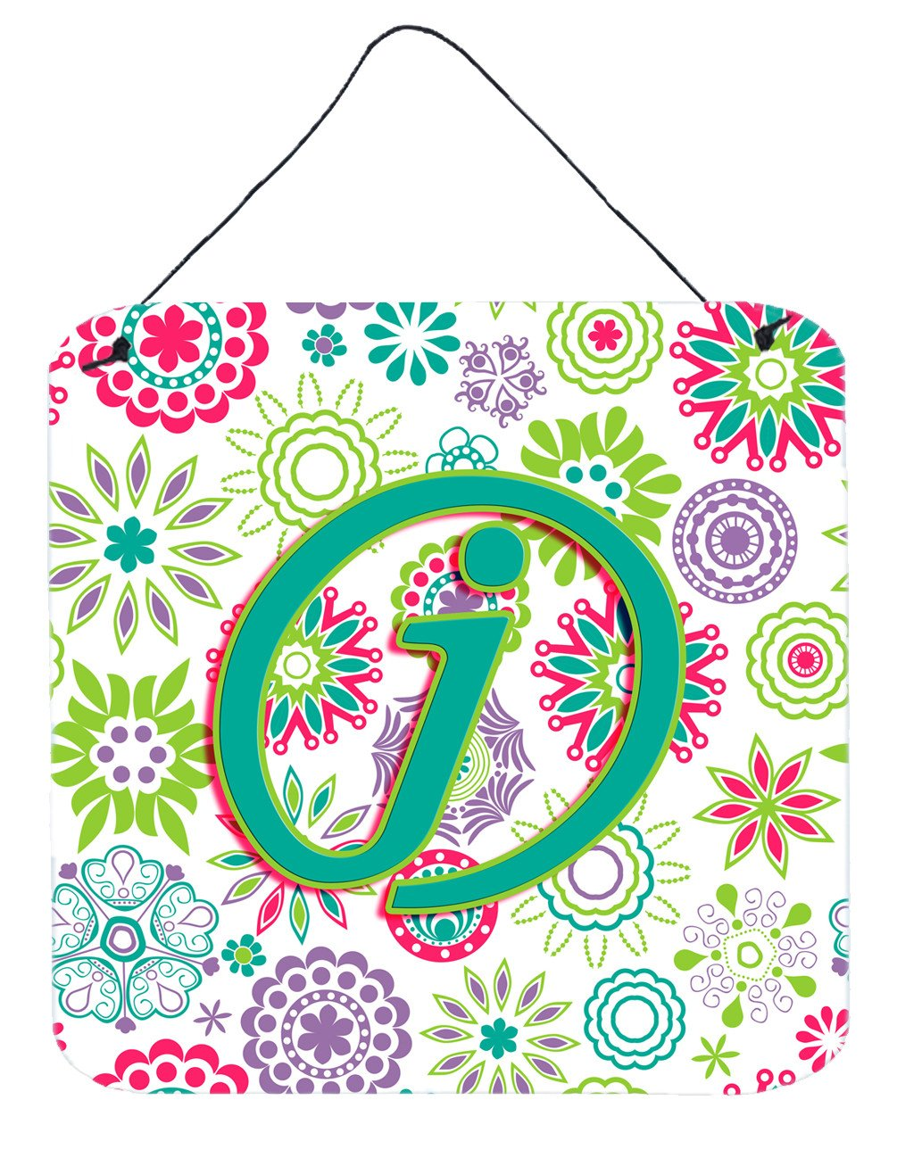 Buy this Letter J Flowers Pink Teal Green Initial Wall or Door Hanging Prints CJ2011-JDS66