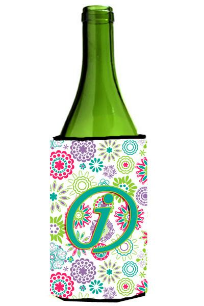 Buy this Letter J Flowers Pink Teal Green Initial Wine Bottle Beverage Insulator Hugger CJ2011-JLITERK
