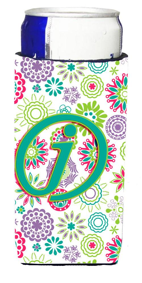 Buy this Letter J Flowers Pink Teal Green Initial Ultra Beverage Insulators for slim cans CJ2011-JMUK