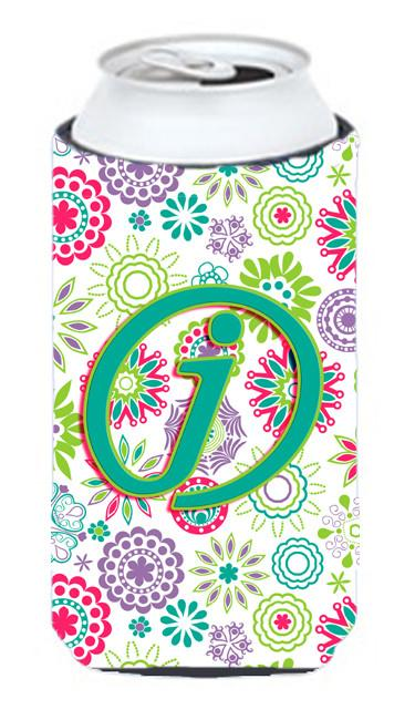 Buy this Letter J Flowers Pink Teal Green Initial Tall Boy Beverage Insulator Hugger CJ2011-JTBC