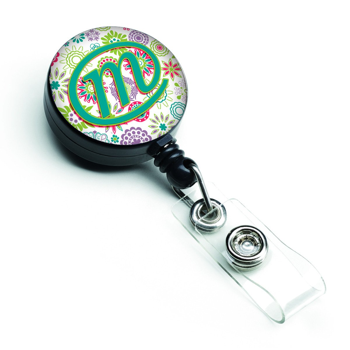 Letter M Flowers Pink Teal Green Initial Retractable Badge Reel CJ2011-MBR by Caroline's Treasures