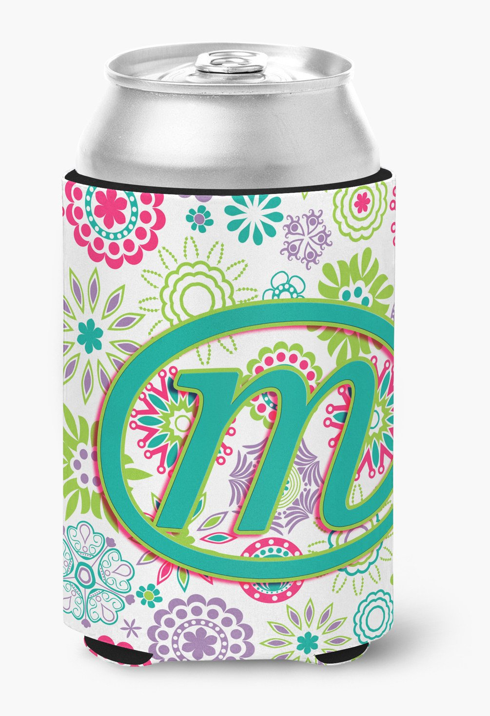 Letter M Flowers Pink Teal Green Initial Can or Bottle Hugger CJ2011-MCC by Caroline's Treasures