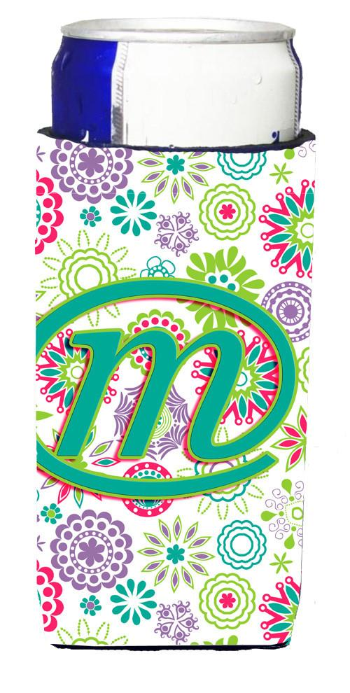 Letter M Flowers Pink Teal Green Initial Ultra Beverage Insulators for slim cans CJ2011-MMUK by Caroline's Treasures